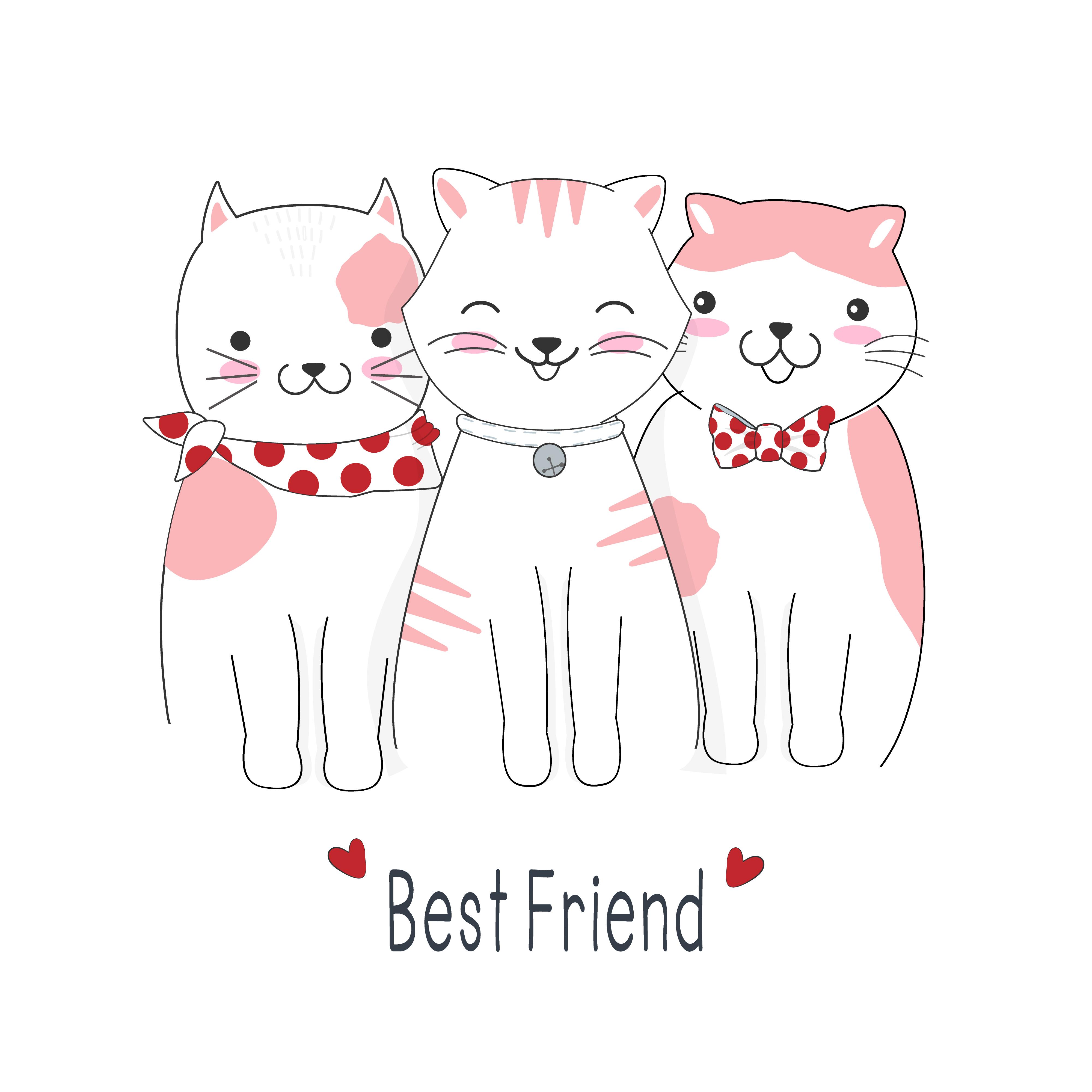 Cartoon Cat Best Friends Download Free Vectors Clipart Graphics Vector Art