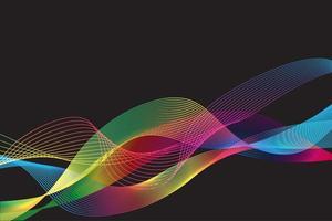 líneas de degradado multicolor sobre fondo oscuro vector