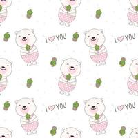 Smiling teaddy bear with cactuc seamless pattern