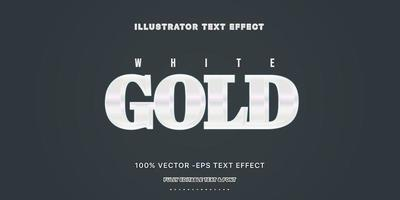 White Gold Editable Text Style vector