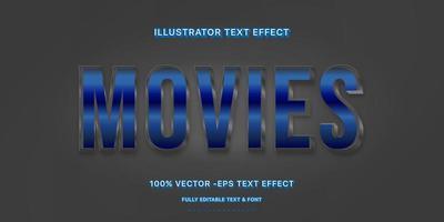 estilo de texto editável do filme metálico azul