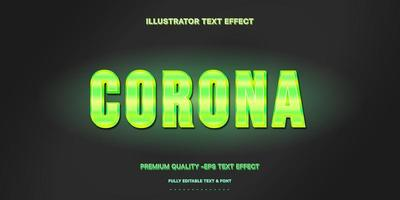 estilo de texto editável de corona verde neon