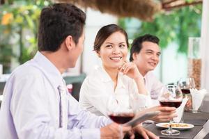 Colleagues in restaurant