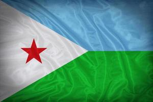 Djibouti flag pattern on the fabric texture ,vintage style