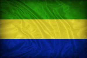 Gabon flag pattern on the fabric texture ,vintage style photo