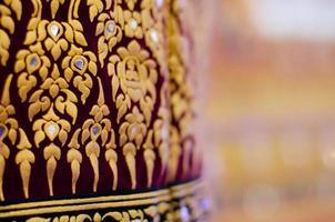 Thai Classic Pattern for Traditional Velvet Umbrella Close Up.