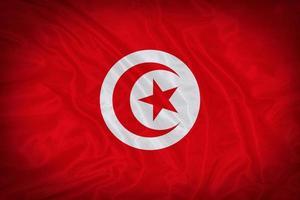 Tunisia flag pattern on the fabric texture ,vintage style photo