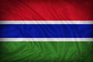 Gambia flag pattern on the fabric texture ,vintage style photo