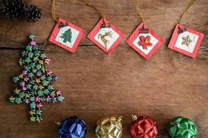 Vintage gift box old wooden background, Christmas concept photo