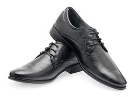 Pair of classical black leather shoes for men photo