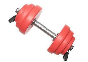 Sporting equipment - single red dumbbells.