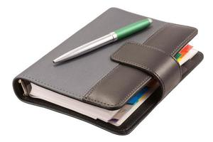 organizador y bolígrafo