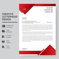 Red Triangle Frame Letterhead Template vector