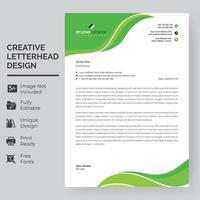 modelo de papel timbrado - ondas de folha verde