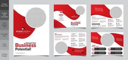 8 Page Simple Clean Business Brochure Template  vector