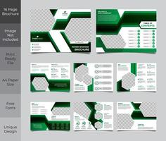 16 Page Green Black Corporate Business Brochure Template vector