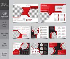 Red and Black 16 Page Corporate Business Brochure Template  vector