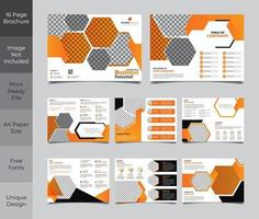 16 Page Corporate Orange and Grey Brochure Template Design vector
