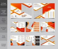 16 Page Orange Corporate Business Brochure Template vector