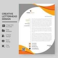 modelo de papel timbrado - curvas cinza e laranja