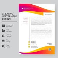 Orange, Yellow, and Purple Flowing Wave Letterhead Template vector