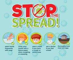 infografías de coronavirus con detener el diseño de tipo propagación