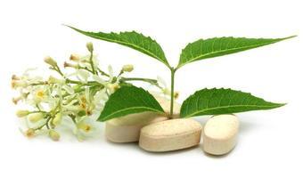 pastillas hechas de neem medicinal foto