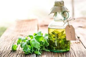 Healthy tincture in bottles as natural medicine photo