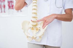 médico mostrando columna anatómica foto