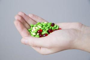 Pills in women hand photo