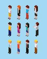conjunto de caracteres de personas isométricas vector