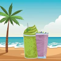 Tropical smoothie drink on beach background