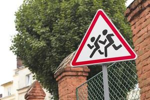 Traffic road sign in the city photo