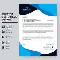 Blue and Navy Rounded Shapes Letterhead Template vector