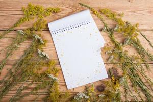Bloc de notas y hierbas medicinales en mesa de madera - medicin alternativa foto