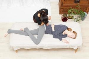 Women undergoing a massage