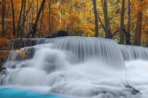 Waterfall in deep rain forest jungle.