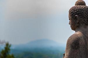 Meditating sitting Buddha in stone above jungle at Borobudur