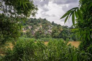 Las casas entre la jungla en la orilla del río.
