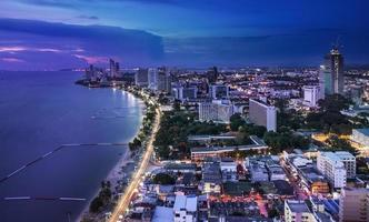 Urban city Skyline, Pattaya bay and beach, Thailand.