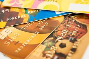 Close-up picture of a credit cards as a background. photo