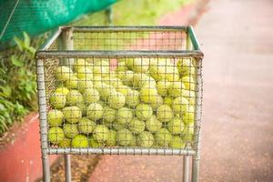 lot of tennis balls in the basket