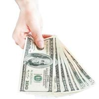 Money dollar in hand on white background photo