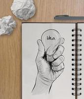lampadina disegnata a mano con la parola idea