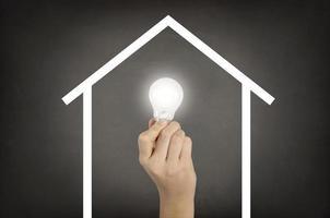 Light bulb on house shaped on blackboard photo