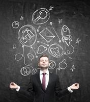 Meditative businessman
