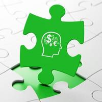 Education concept: Head With Finance Symbol on puzzle background photo