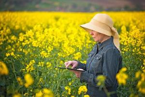 Female Farmer with Digital Tablet in Oilseed Rapeseed Cultivated
