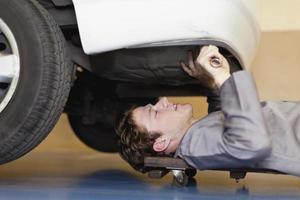 Mechanic working on car engine photo