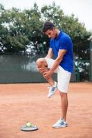 Tennis player warm-up outdoors